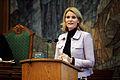 Helle Thorning-Schmidt, partiledare for socialdemokraterna i Danmark, talar under Nordiska radets session i Kopenhamn 2006 (1).jpg