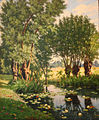 Henri Biva, River Scene in Spring, France (View of Willow Trees on the Bank of a River with Waterlilies), oil on canvas, approx 60 x 49 cm.jpg