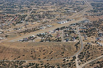 Hesperia Airport - The airport as seen from the air, turning downwind.