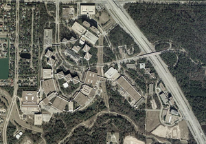 Compaq - Aerial map of the Compaq headquarters, now the Hewlett-Packard USA campus in unincorporated Harris County, Texas