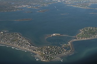 Hingham Bay - Aerial view looking southwest with the town of Hull in the foreground
