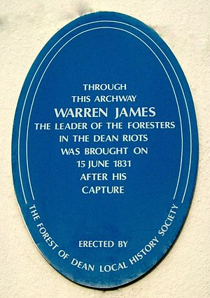 Warren James - Forest of Dean Local History Society plaque on the wall of The Angel Hotel, Coleford.