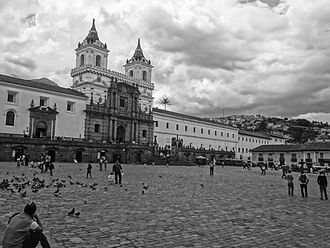 Religion in Ecuador - View of the Church of San Francisco in the Historic Center of Quito from the Plaza San Francisco