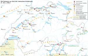 Early history of Switzerland - Map of late Iron Age Switzerland on the eve of the Roman conquest, indicating tribal territories, large settlements and oppida