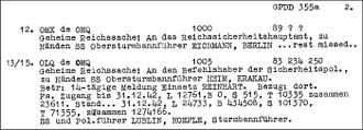 Hermann Höfle - Telegram from Hermann Höfle listing the number of deaths in the extermination camps during a 14-day period in 1942 and for the whole year 1942 (1,274,166). (L) stands for Lublin/Majdanek, (B) for Bełżec, (S) for Sobibor and (T) for Treblinka extermination camp.