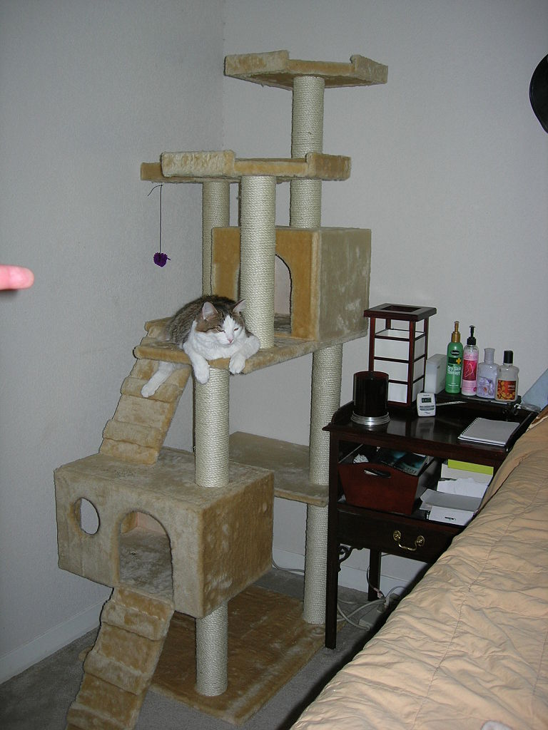 File homemade cat wikimedia commons for Homemade cat tower
