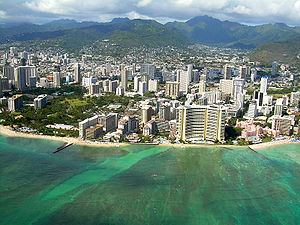 View of Waikiki Beach area hotels. Halekulani ...