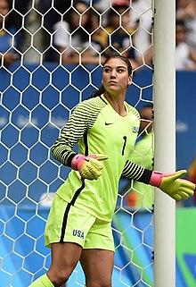 Hope Solo in azione al torneo olimpico di Rio de Janeiro 2016