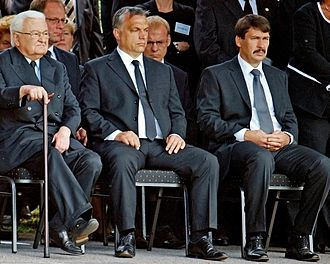 Péter Boross - Boross, Orbán and Áder at the funeral of Gyula Horn in 2013