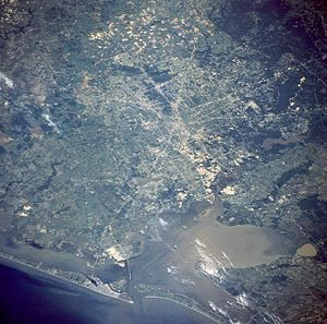 Greater Houston - An image of the Greater Houston area taken from NASA's Space Shuttle during mission STS-55 (STS055-71-43) with Galveston Bay and Galveston Island visible towards the bottom of the picture