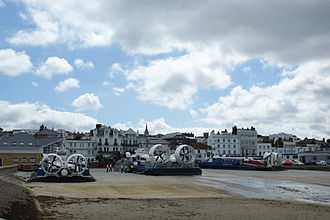 Isle of Wight ferry services - The Hovertravel fleet at Ryde.
