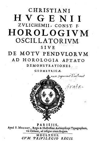 Christiaan Huygens - Horologium oscillatorium sive de motu pendulorum, 1673