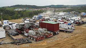 Hydraulic fracturing in the United States - A hydraulic fracturing operation at a Marcellus Shale well