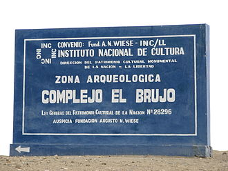 El Brujo - INC (National Institute of Culture) sign at the El Brujo complex