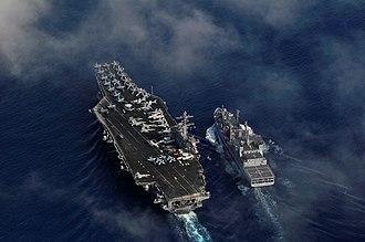 INS Shakti (A57) - Image: INS Shakti replenishing USS Carl Vinson