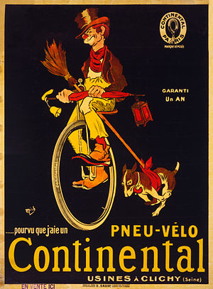 "Unicycle - ""If I only had a Continental bicycle tire."" Advertising poster for Continental tires showing a hobo on a unicycle with his dog running beside (c. 1900)."