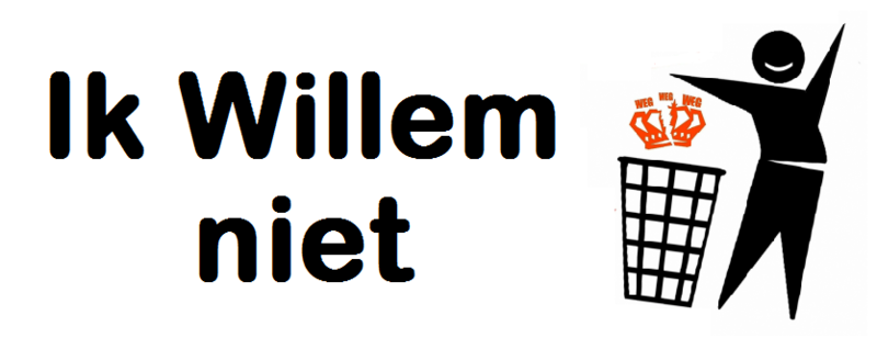 "2013 republican sign protesting the investiture of Willem-Alexander, simultaneously stating ""I don't want him"" and ""I don't want Willem"". Ik Willem niet.png"