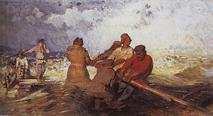 Ilia Efimovich Repin (1844-1930) - On a raft in storm on Volga (1870).jpg