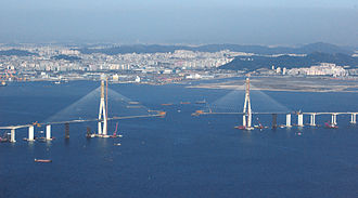 Incheon Bridge - Image: Incheon Bridge under construction