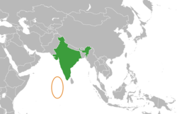 Map indicating locations of India and Maldives