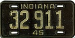 Indiana 1945 license plate - Number 32 911.jpg