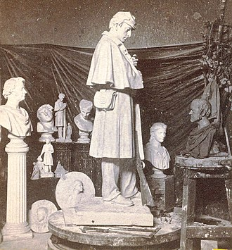 Martin Milmore - Image: Interior of Milmore's studio, showing design of soldier's monument for the city of Roxbury, from Robert N. Dennis collection of stereoscopic views crop