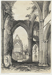 Interior of Tintern Abbey, Monmouthshire. Looking West