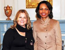 International Women of Courage winner, Valdete Idrizi, with Secretary Rice, March 10, 2008. (U.S. State Department photo).jpg