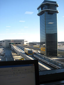 Narita International Airport control tower and people mover