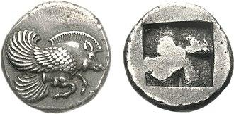 Klazomenai - Coin from Klazomenai depicting a winged boar, 499 BC