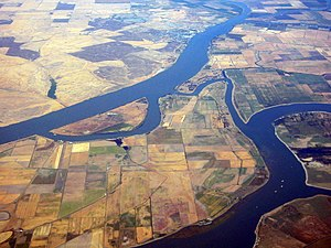 Sacramento River - Aerial view of the Delta region, showing the Sacramento River (above) and the San Joaquin River.