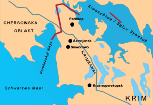 Isthmus of Perekop - A map with the Isthmus of Perekop.