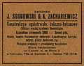 J. Sosnowski, A. Zachariewicz. Advertisement in magazine Architekt, july 1907.jpg