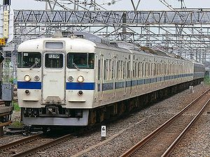 415 series - A 415 series train on the Jōban Line approaching Abiko Station, July 2006