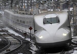 Tōkaidō Shinkansen - A JR West N700 series train passing Maibara Station on the Tokaido Shinkansen in January 2011
