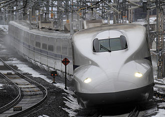 Tōkaidō Shinkansen - A JR West N700 series train passing Maibara Station on the Tokaido Shinkansen in January 2011
