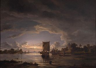 Jacob Abels - An Extensive River Scene with Sailboat, Rademakers Collection