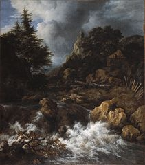 Waterfall with a Half-Timbered House and Castle