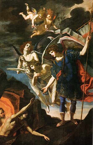 Novena to Saint Michael - Archangel Michael reaching to free souls from Purgatory, by Jacopo Vignali 17th century