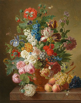 Jan Frans van Dael - Still life of flowers in an alabaster vase with fruit on a stone ledge