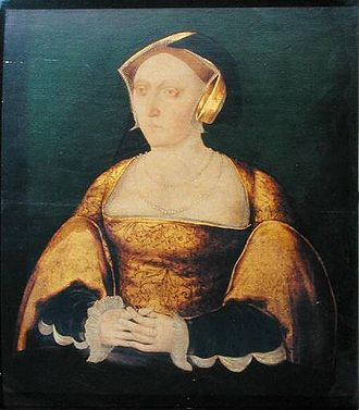 "Jane Seymour - Portrait of Jane believed to have been painted during her short queenship and attributed to the ""Cast Shadow Workshop"""