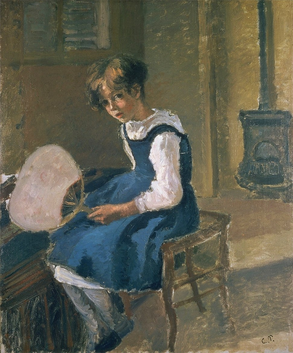Jeanne Holding a Fan, c.1874, by Camille Pissarro. Oil on canvas, The Ashmolean Museum,