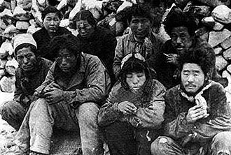North Korea - Suspected communist sympathizers awaiting execution in May 1948 after the Jeju Uprising