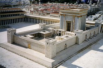 Second Temple - This picture shows the temple as imagined in 1966 in the Holyland Model of Jerusalem.
