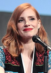 A shot of Jessica Chastain interacting with the audience at Comic-Con