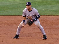 Derek Jeter, a shortstop, getting ready to field his position in 2007