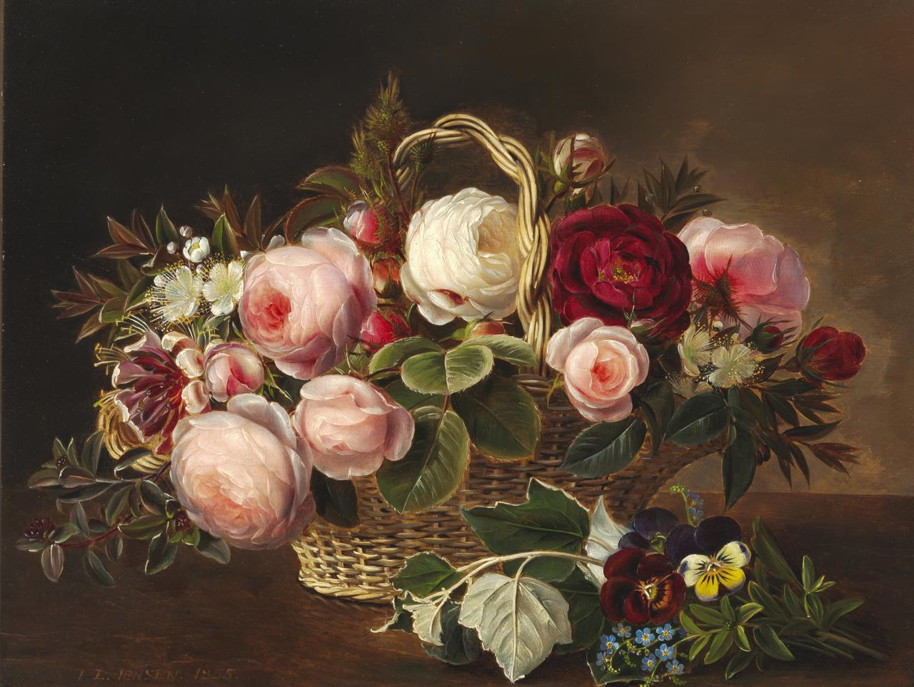 Johan Laurentz Jensen - Roser og sommerblomster i kurv på en karm - 1855.png