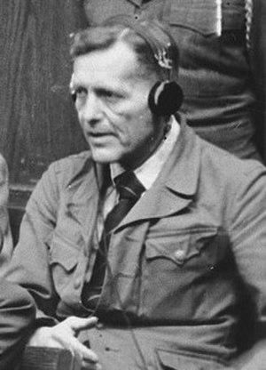 Lutz Graf Schwerin von Krosigk - Graf Schwerin von Krosigk on trial in Nürnberg