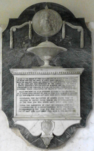John Clevland (1706–1763) - Mural monument in Westleigh Church to John I Clevland (1706–1763) of Tapeley