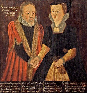 The Crypt School - John and Joan Cooke by an unknown artist. In the collection of Gloucester City Museum & Art Gallery.